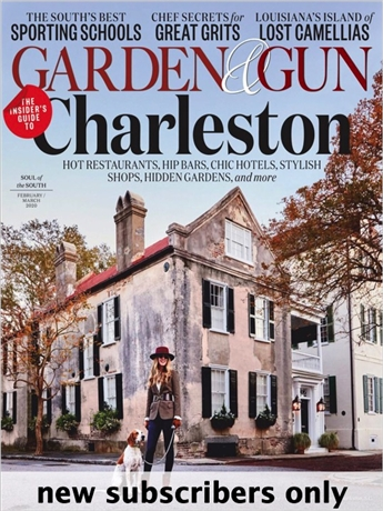 Garden & Gun is a dynamic Southern lifestyle magazine that captures the soul of the new South; the sporting culture, the food, the music, the art, the literature and the ideas. With lush photography and award winning editorial Garden & Gun appeals to both men and women with a strong connection to the land, and all things Southern.